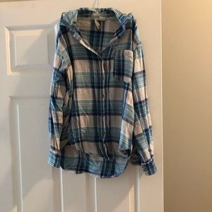 Blue Plaid Button Up Shirt